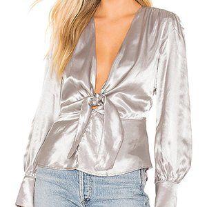 NWT Bardot Delora Tie Top Silver Size 6